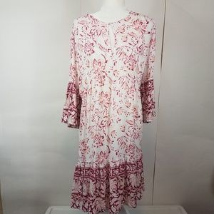 Lucky brand white floral bell sleeve dress large
